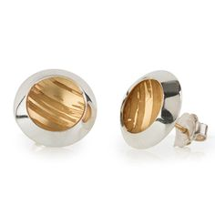 Estuary Stud Earrings – Gold and Silver Etched Earrings inspired by the coast Becca Williams