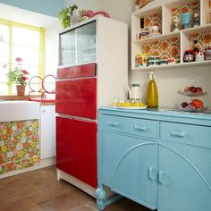 Retro multicoloured kitchen | Kitchen decorating | Style at Home | Housetohome.co.uk