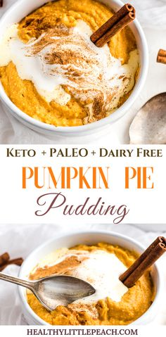 A creamy and delectable pumpkin pie pudding that not only taste identical to a pumpkin pie but it's also gluten free dairy free Paleo and Keto compliant. A creamy and delecta Dairy Free Pumpkin Pie, Keto Pumpkin Pie, Pumpkin Dessert, Paleo Dessert, Pumpkin Pumpkin, Keto Vegan, Paleo Dairy, Raw Vegan, Whole Foods Market