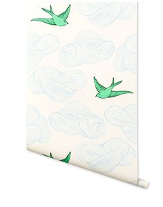Daydream (Green) wallpaper featuring flying birds and floating clouds was designed by Julia Rothman for Hygge & West. Perfect for kids rooms and adult spaces alike. Our modern, high quality wallpapers are screen printed by hand in the USA. Green Wallpaper, Modern Wallpaper, Pattern Wallpaper, Wallpaper Murals, Fish Wallpaper, Cloud Wallpaper, Bathroom Wallpaper, Perfect Wallpaper, Designer Wallpaper