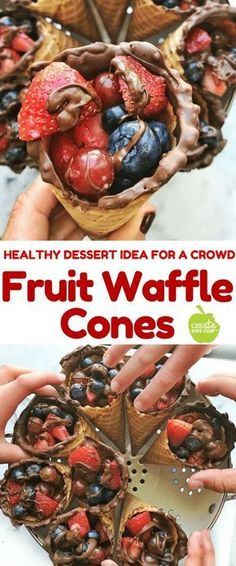 Fun After School Snack Idea: Fruit Waffle Cones An easy healthy dessert idea made with fruit and chocolate. It's a no-bake recipe and is great for a crowd. It's the best quick healthy dessert for kids and is simple to make. It's a fun kids cooking recipe! Healthy Desserts For Kids, Healthy School Snacks, Healthy Afternoon Snacks, Kid Desserts, Healthy Fruits, Healthy Dessert Recipes, Fun Recipes For Kids, Quick Healthy Snacks, Easy Healthy Deserts