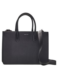 Solid tote bag made from bovine leather. Features two main compartments, one zip compartment, one inner pocket, two handles, an adjustable and removable crossbody strap and lining. Black Leather Tote Bag, Laptop Tote, Bag Making, Wearing Black, Handle, Pocket, Wallet, Shoe Bag, Style