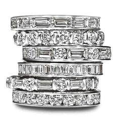 A Stack of Diamond Engagement Rings by Harry Winston