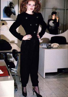 Yves Saint Laurent Rive Gauche, American Vogue, March 1985. Photograph by Helmut Newton.