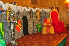 Kingdom Rock Vbs Decorations With The Theme Of A Fortress Guarded By Royal Guards Kingdom Rock VBS Decorations Ideas Interior aqua booster songs we fall down songs Kindergarten Party, Stage Decorations, Castle Decorations, Knight Party, Christ The King, Royal Guard, Vbs Crafts, Vacation Bible School, Classroom Themes