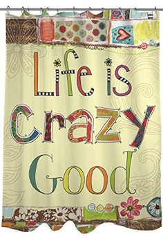 Thumbprintz Shower Curtain Life Is Crazy Smileamazon