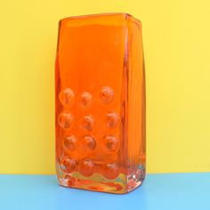 Vintage Whitefriars Mobile Phone Vase - Geoffrey Baxter - Orange