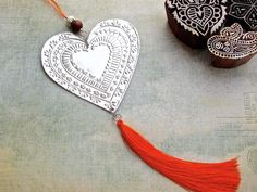 Bohemian Decoration Tin Foil Heart Decor Embossed by FoilingStar