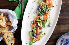 Gin-cured salmon with cucumber and lime Healthy Salmon Recipes, Seafood Recipes, Gourmet Recipes, Low Carb Recipes, Easy Recipes, Savoury Recipes, Savoury Dishes, Vegan Recipes, Gin