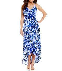 841ceb93c52 Gianni Bini Gia Palm Maxi Wrap Dress Maxi Wrap Dress