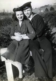A sailor and his girl, c. 1940s ~