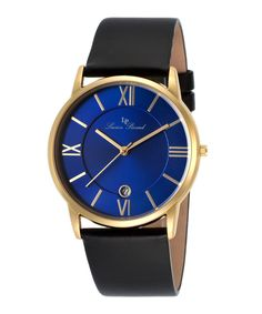 Moiry+blue+dial+black+leather+watch+by+Lucien+Piccard+on+secretsales.com