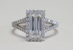 1.00 Carat Table Cut Diamond in a 18k White Gold .56 Carat Total Weight Setting