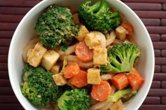 Spicy Peanut Udon Noodles with Tofu and Broccoli