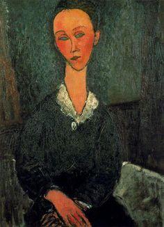 'eine frau mit weiß `collar`', öl auf leinwand von Amedeo Modigliani (1884-1920, Italy)