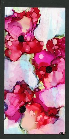 Floral painting, Alcohol Ink Art, acrylic, flowers on wooden canvas 6 x ink art, bright colors Acrylic Flowers, Abstract Flowers, Abstract Watercolor, Watercolor Ideas, Abstract Art, Alcohol Ink Painting, Alcohol Ink Art, Nature Collage, Encaustic Art