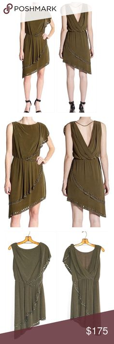 "Host PickHaute Hippie Grommet Nailhead Dress Statement Style Host Pick by Ella @fashionm4women 7/20/16Haute Hippie asymmetric dress with grommet and nailhead stud trim.  Measures about 32"" long on the shorter side and 40"" on the other.  Army green color with a boat neckline and a draped open back, elasticized waist, bare right arm and short drape on the other, Grecian draping across the front and a layered asymmetric hem.  100% silk with polyester lining.  No trades. Haute Hippie Dresses…"