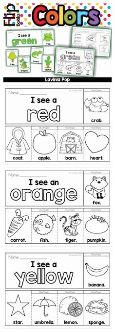 Flip Books Color flip books in color and black & white. A recording page is also included for each booklet.Color flip books in color and black & white. A recording page is also included for each booklet. Preschool Classroom, Preschool Worksheets, Preschool Learning, In Kindergarten, Preschool Activities, Color Activities For Toddlers, Preschool Curriculum, Preschool Colors, Teaching Colors