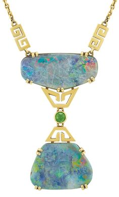 Black Opal and Demantoid Garnet Pendant-Necklace, Tiffany & Co. 18 kt. upheld by two gold geometric links, suspending one modified trapezoidal-shaped opal, joined by one round demantoid garnet, flanked by two gold geometric links, circa 1900