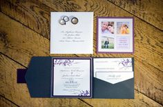 Purple and navy invitations