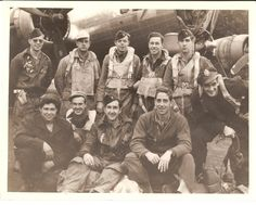 18 August 1944, Vise, Belgium;   Wing/Division Lead  Back L-R: TSgt. Clarence Flory (RO), unidentified 1, 1st Lt. Tommy Bolger (N), 1st Lt. Ralph Wiley (B), 1st Lt. William Fairfield (P)  Front L-R: SSgt. Joseph Needle (FG), unidentified 2, 1st Lt. Alexander McNair (N), Lt. Col. Alfred Nuttall (CA/CP), 2nd Lt. Richard Rafeld (OBS/TG)  To Be Identified: TSgt. Vincent Larkin (TT), SSgt. Leo Bray (BT)   Aircraft: B-17G 544th BS 42-97824 SU*U  Source: The Quentin Bland Collection.