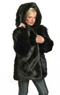 Black Beaver Fur Parka