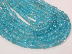 1. Strand 16Inches Apatite Beads Roundell Shape 5x6.mm by SRBEADS