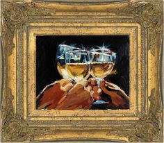 Oil Painting on Canvas Wine Glasses Still Life Miniature Museum Framed. $ 240.00, via Etsy.