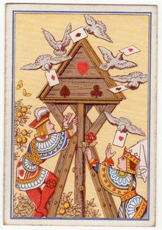 Playing Cards 1 Swap Card Old Antique Square Corner QUEEN KNAVE + HOMING PIGEONS    eBay