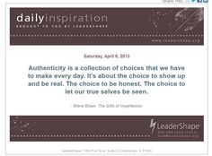 Authenticity (LeaderShape Daily Inspiration)