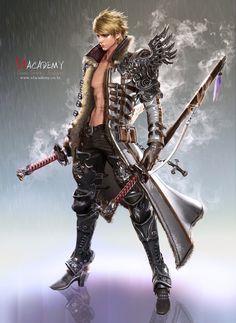 Two Sword Man Art by Sim Insu SIM INSU is a character artist from seoul, Korea (South). Fantasy Heroes, Fantasy Male, Fantasy Armor, Dark Fantasy, Fantasy Character Design, Character Design Inspiration, Character Concept, Character Art, Concept Art