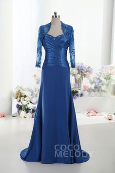 Straps Sweep-Brush Train Elastic Silk like Satin Mother of the Bride Dress with Jacket-Bolero and Crystals Beading COLT14018 #cocomelody #partydresses #promgowns #customdress #newdresses#motherdresses
