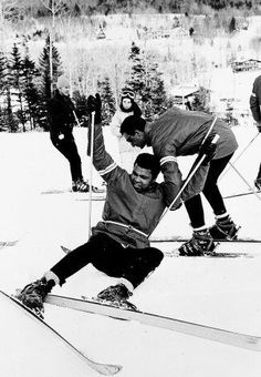 No, Champion, no! Muhammad Ali skiing at Mount Snow in Vermont, 1970... ok, he tries to do.
