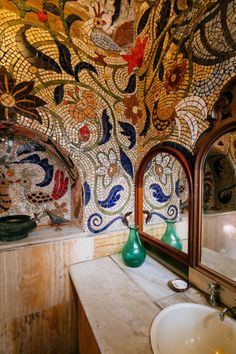 Intricate bathroom tiles