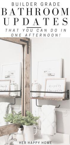Easy Bathroom Updates, Bathroom Trends, Simple Bathroom, Bathroom Ideas, Bathroom Shelves, Bathroom Organization, Ikea Bathroom, Bathroom Plants, Budget Bathroom
