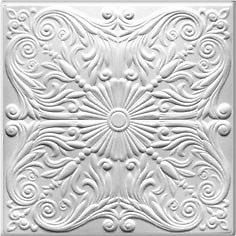 Styrofoam decorative ceiling tiles are lightweight, easy to install and virtually maintenance free.  Easily glue up to your existing ceiling or wall surface to add a touch of elegance to any room in your home, office or place of business.  Can be painted or faux finished with any water based paint for a unique and custom look. Also great for craft projects and DIY photo backdrops!