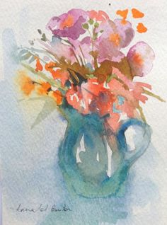 Original Watercolour Painting - Flowers in a Blue Jug - Signed Annabel Burton