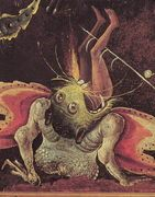 Hieronymus Bosch, born Jeroen Anthonissen van Aken (c. 1450 - August 9, 1516) was an Early Netherlandish painter of the fifteenth and sixteenth centuries. Many of his works depict sin and human moral failings.    Bosch used images of demons, half-human animals and machines to evoke fear and confusion to portray the evil of man.    His works contain complex, highly original, imaginative, and dense use of symbolic figures and iconography, some of which was obscure even in his own time. (From…