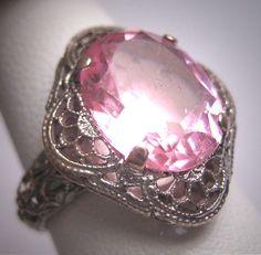 Antique Pink Sapphire Ring Vintage Filigree Wedding Victorian