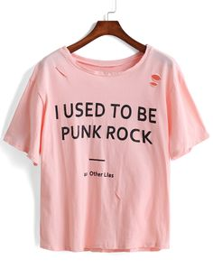 Shop Letter Print Ripped Pink T-shirt online. SheIn offers Letter Print Ripped Pink T-shirt & more to fit your fashionable needs.