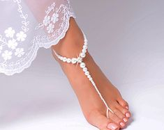 Barefoot Sandals Beaded barefoot sandals Beach by FancyyFeets