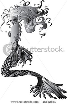 Mermaid Tattoo. Love her hairrr
