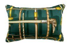 超希少ピエロフォルナセッティI BASTONIグリーンデザインのヴィンテージ生地クッション #cushion #cushioncover #クッション #クッションカバー #ヴィンテージ #アンティーク #vintage
