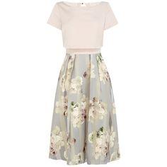 Coast Brea Floral Stripe Dress, Pink Multi ($240) ❤ liked on Polyvore featuring dresses, pink skater skirt, short-sleeve dresses, flared skirt, white maxi dress ve striped maxi dress