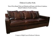 Dakota Leather Sofa by Casco Bay Furniture - A Premier Leather Furniture Collection superbly made by skilled craftsman by one of North Carolina's foremost high end specialty leather manufacturers. This set features: True Eight-way hand-tied spring suspension (Built to Last a Lifetime!), free Down Blend Seat Cushions and Back Cushions, 100% Kiln-dried, double-doweled, corner blocked, hardwood frames for maximum durability. Custom options available! #CascoBayFurniture #leathersofa Leather Furniture, Leather Sofa, Casco Bay, Furniture Collection, Seat Cushions, Game Room, Living Room Furniture, Couches, Craftsman