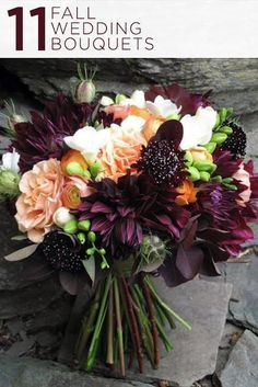 Fall bouquet: Dahlias and roses, wedding flowers, Vermont Wedding at The Round Barn Dark Purple Wedding, Purple Wedding Flowers, Fall Flowers, Wedding Colors, Bridal Flowers, Dark Purple Flowers, Peach Flowers, Orange Wedding, Fall Bouquets