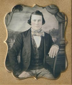 "Big hands, big.....gloves! His tie, his vest, his PANTS are ""flash"" indeed, and he looks so clean. This is an uptown swell...Ca.1850."