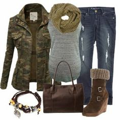 Outfits with Trendy Military Jacket and Bundle Up Wedge Boot 2013 ~ New Women's Clothing Styles & Fashions