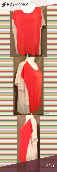 Coral Hi-Low Top Size: XL; Knit is 48% Polyester, 48% Rayon and 4% Spandex. Chiffon: 100% Polyester. Tops
