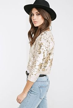 Collarless Sequined Jacket   FOREVER21 - 2000100942